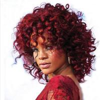 Rihanna's Hairstyle Afro Kinky Curly pelucas cortas para las mujeres blancas negras 15 pulgadas de pelo sintético Pelucas Perruque Afro Perucas