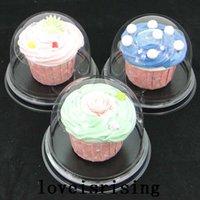 100pcs = 50sets Clear Cupcake en plastique Cake Dome Favors Boîtes Conteneur Mariage Décoration Boîtes Cadeaux Caisses de faveur de mariage Fournitures