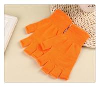 Wholesale Hot Gloves Unisex Plain Basic Hot Fingerless Winter Knitted Gloves Warm Finger Cover Fingerless Gloves For Women
