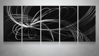 Wholesale Black White Aluminum Polished Modern High Quality Abstract Metal Wall Art Painting Sculpure For Wall Decoration