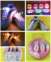Wholesale 40pcs Colorful Fiber Optic LED Flashing shoe lace Light up Flash shoelace blister card pack TH Gen