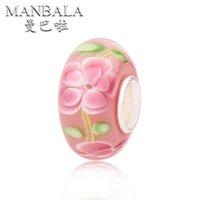 Wholesale MANBALA Flower Lampwork Glass Beads Fits Bracelet Necklace Big Hole Charms Original European DIY Jewelry Making Beads AA01L