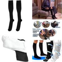 Wholesale Sexy Stocking Calf - Wholesale-Black White Solid Womens Miracle Slim Leg Sexy Fashion Elastic Stocking Compression Varicose Vein Thin Leg Calf Shaper S3434