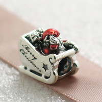 Wholesale 2016 Christmas S925 Sterling Silver Sleighing Santa Charm Bead with Red Enamel Fits European Pandora Style Jewelry Bracelets Necklace