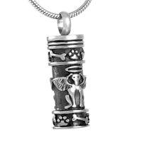 Wholesale IJD8186 Angel Dog L Stainless Steel Cremation Pendant Necklace Antique Pet Ashes Keepsakle Memory Casket Funeral Necklace