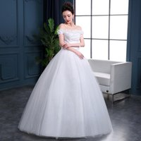 Wholesale Fashion Off Shoulder Style Cap Sleeve Tulle Hand Made Flowers Simple Lace Sexy Purity In Stock Weding Events Dresses