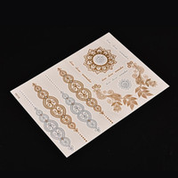 arabic tattoos - pc Arabic Henna Tattoo Body Paint tattoo taty Glitter gold tattoo stickers Metal temporary flash tattoos