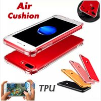 achat en gros de coussin d'enceinte-Coussin gonflable antidérapant Rugged Case Transparent TPU Stereo Sound Speaker Switching Cases pour iPhone 6 6s plus 7 7 plus Samsung s8 s8 plus