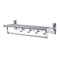 Wholesale BLH High Class Stainless Steel Square Bathroom Wall Towel Rack Holder Double Rails Towel Bars Hanger Chromed Wall Mount