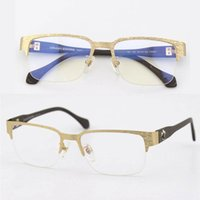 Wholesale 2017 Men s Deep Square Half Rim Metal Optical Glasses Frame Uinque Wood Pattern Legs Anti Blue Clear Lens Prescription Eye Glasses For Male