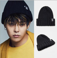 Wholesale Hot winter warm BiGBANG GD G Letter Embroidery woolen cap knitted skull chunky Beanie Elastic curl hat couple man women hip hop