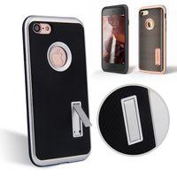 apple fiber card - MOTOMO Carbon Fiber Armor Case for iphone7 plus S plus Samsung S7 edge Hybrid PC TPU Anti Skid Anti Knock Cover with stents