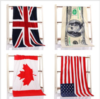 Wholesale Best Selling cotton beach towel drying washcloth swimwear shower towels USA UK Canada flag dollar design bath towel