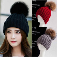 Wholesale Women Spring Winter Hat Beanies raccoon fur ball Knitted Cap Crochet Rabbit Fur Pompons Ear Protect Casual beanie ski pom Cap