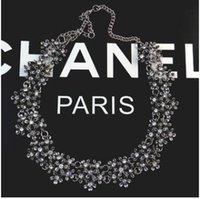 ancient pearls - Europe and the United States party luxury crystal diamond necklace with restoring ancient ways is the Czech drill collar bone chain of pearl