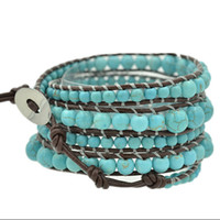 Wholesale hot new arrival fashion jewelry mm Natural turquoise weaving leather wrap bracelet bangle for girl for women