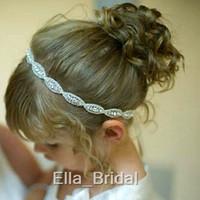 Wholesale Crystal Rhinestone Girls Head Pieces Newborn Baby Hairband Headband Headband Kids Flower Girl Hair Accessories In Stock