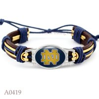 Wholesale pieces Notre Dame Fighting Irish Adjustable Leather Cuff Bracelet for Athletic Team Mens Sports Wristband Jewelry