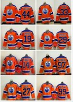 al por mayor parches de color naranja-Edmonton Oilers # 97 Connor McDavid Con C Patch 4 Salón 19 Maroon 27 LUCIC 29 Draisaitl 33 Talbot 44 Kassian Naranja Cosido Hockey JERSEYS