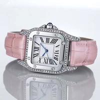 al por mayor correas de cuero de las señoras relojes-Relojes de lujo de la manera hombres unisex de los hombres Reloj de la plata de la correa de cuero del bisel de los diamantes cuadrados de la marca de fábrica Deporte del cuarzo Relojes de pulsera para los hombres Señora