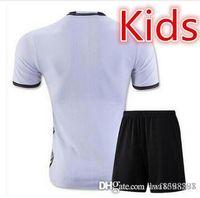 Wholesale 33 kids Germany football shirts home away grey soccer uniforms kit OZIL REUS MULLER INSTEIGER alemanha child shirts sets free shippi