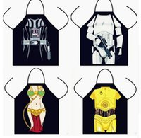 Wholesale Funny Apron Star Wars Black Fighters Kitchen Apron Iron Man Princess Dinner Party Cooking Apron Adult Tablier Cuisine kitchen Aprons Tools