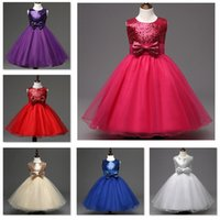 Wholesale 6 Colors Girls Party Wear cake Dress Kids New Sequins Children Wedding party Birthday princess bow dresses For Girls Kids Clothing K489
