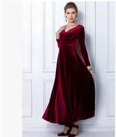 al por mayor túnicas de terciopelo-Women Wine Redding Se adapta a los vestidos con mangas largas Velvet Warm Dress XXL 3XL Vestidos Talla más largo de invierno tobillo Maxi Túnicas Casual Túnicas