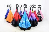 Wholesale 17 Colors Inverted Umbrellas Double Layer Protection C Hook Hands Inside Out Reverse Windproof Upside Down Umbrella Rain Umbrella TOP1563Q