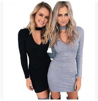 Wholesale 2016 autumn winter fashion women knitted dress elegant bodycon dresses casual long sleeved black short sweater dress vestidos