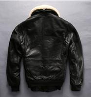 Wholesale New Mens Pilot Jacket Winter Leather Flight Bomber A2 Jet fur Collar Coat Cruise USA Air Force Hot