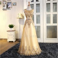 Wholesale Real Photos New Design A Line O Neck Gold Long Evening Dresses with Sash Floor Length Lace Up Prom Dress Formal Party Gowns M206