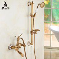 bathtub faucet handheld - And Retail New Ceramic Style Handheld Bathtub Faucet Wall Mounted Bathroom Tub Mixer Faucet HA
