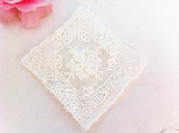 Wholesale DIY Lace Pieces Square with Flowers cotton White