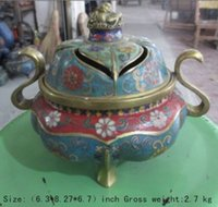 achat en gros de antique chinois brûleur d'encens en bronze-Exquis antique chinoise en bronze cloisonne antique bête trois jambes brûleur d'encens