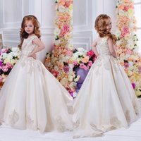 Wholesale Lace Applique Flower Girl Dresses Jewel Neck Sweep Train A Line Cheap Communion Dress For Girls
