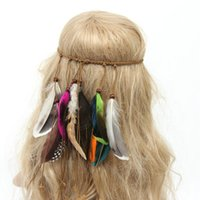 Wholesale New Fashion Women or Girls Hair Accessories Set on the head with Pretty Peacocks Feathers and Colorful Feather Elastic Weave Rope