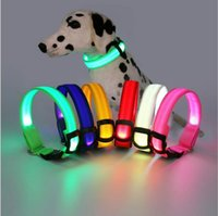 Wholesale Christmas gifts LED Light Nylon Color Night Adjustable Flashing Pet Collar For Dog Safety Cat S M L