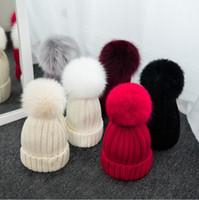 Wholesale Mink Fox Fur Pom Pom Ball Autumn Winter Hats for Women Girls Hat Wool Knit Beanie Thick Female Cotton Blends Cap Women s Hats