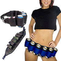 beer belt holster - Outdoor Mountaineering Beer Belt Pack Beer Holster Canvas Adjustable Camping Parties Carry Drinks Bag Colors Women Men Belt