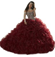 Wholesale New Elegant Ball Gown Wine Red Quinceanera Dresses Beaded Crystals Appliques Sweet Dresses For Years Debutante Gown QC261