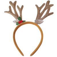 Wholesale New arrival children s Christmas beautifully decorated cartoon fabrics antlers head buckle headdress Santa Claus hair hoop