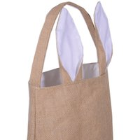 Wholesale 2017 hot Bunny Ear Easter Tote Bag Burlap Material Easter Buckets Basket with Polyester Lining in stock