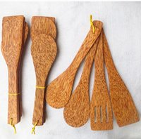 Wholesale ECO Friendly Wooden Coconut Kitchen Set Cooking Food Rice Shovel Slotted Spatula High Quality