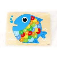 bass fishing scales - Creative Fish Wooden Puzzle Children Alphabet Letters Puzzle Wood Jigsaw Early Learning Jigsaw For Kids Birthday Gifts