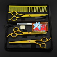 Wholesale Multi colors stainless steel Professional pet grooming hair shear set include scissors and one comb