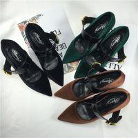 Mary jane chaussures de mariage 2017 noir / vert / brun pompes velours vintage pour les femmes de mariage soirée prom de soirée