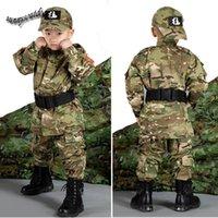 Wholesale Outdoor Woodland Hunting Shooting Shirt Battle Dress Uniform Tactical BDU Set Army Combat Clothing Camouflage Children Uniform SO05