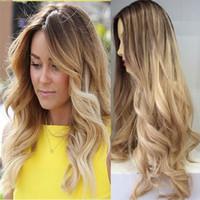 Wholesale Remy Brazilian hair Two Tone Wavy Full Lace Blonde Wigs Ombre Lace Wig With Natural Hairline And Baby Hair For Black Women