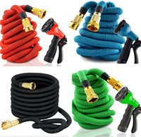 Wholesale 2017 Expandable Garden Hose ft ft ft With All Brass Connectors Pattern Spray Nozzle Head And High Pressure Expanding Garden Hose